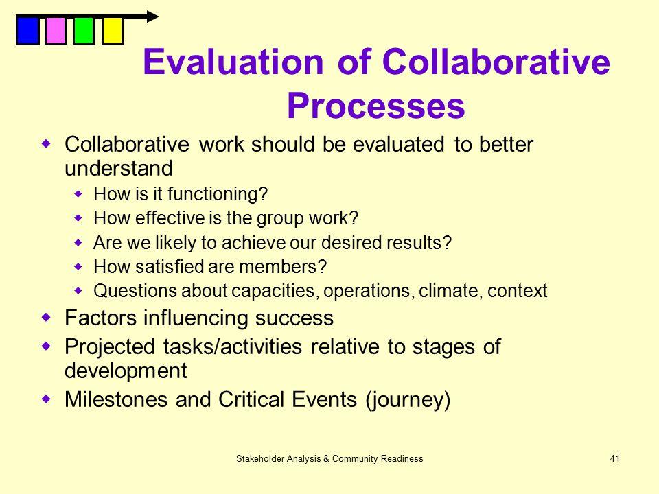 Evaluation of Collaborative Processes