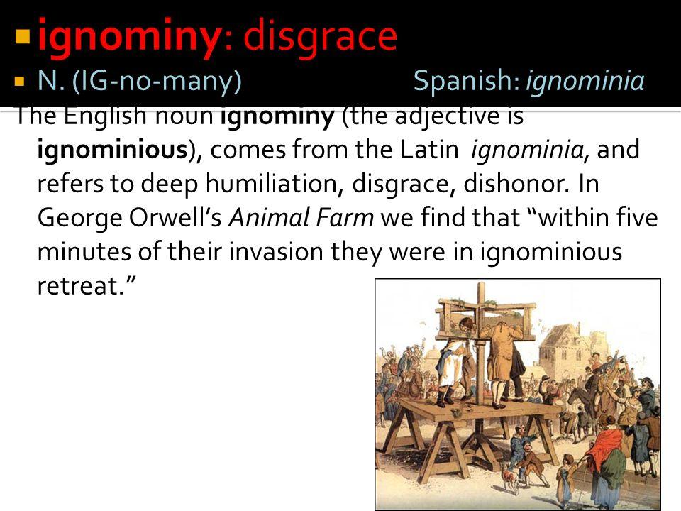 ignominy: disgrace N. (IG-no-many) Spanish: ignominia