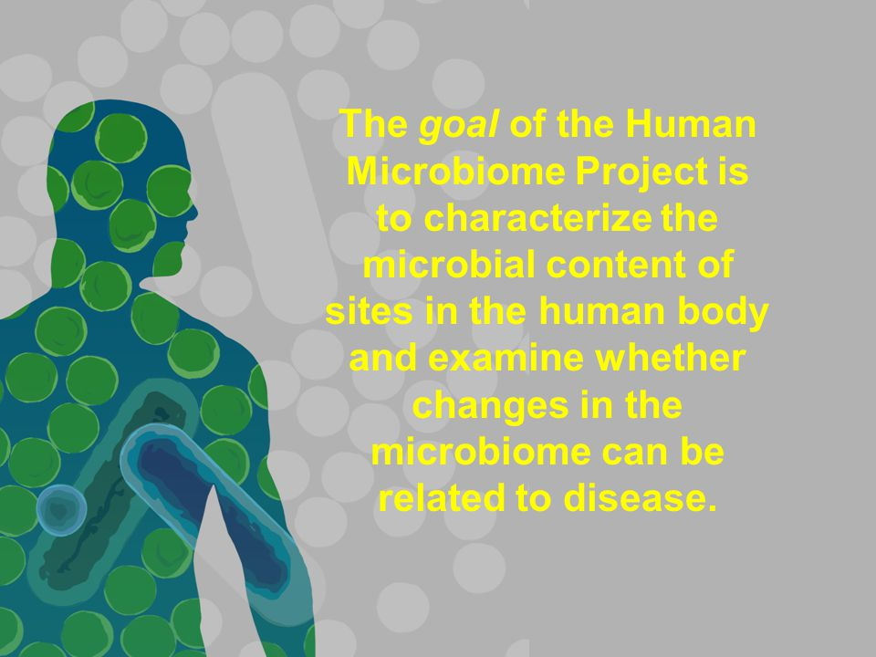 The goal of the Human Microbiome Project is to characterize the microbial content of sites in the human body and examine whether changes in the microbiome can be related to disease.