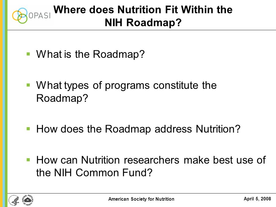 Where does Nutrition Fit Within the NIH Roadmap