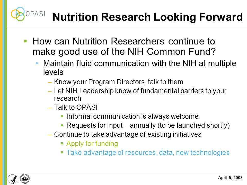 Nutrition Research Looking Forward