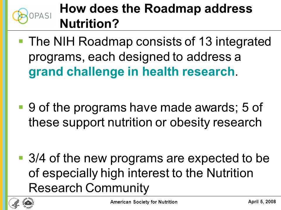 How does the Roadmap address Nutrition
