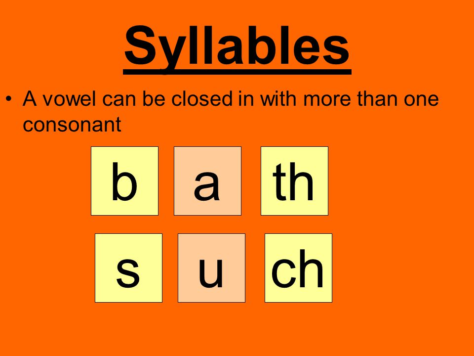 Syllables A vowel can be closed in with more than one consonant b a th s u ch