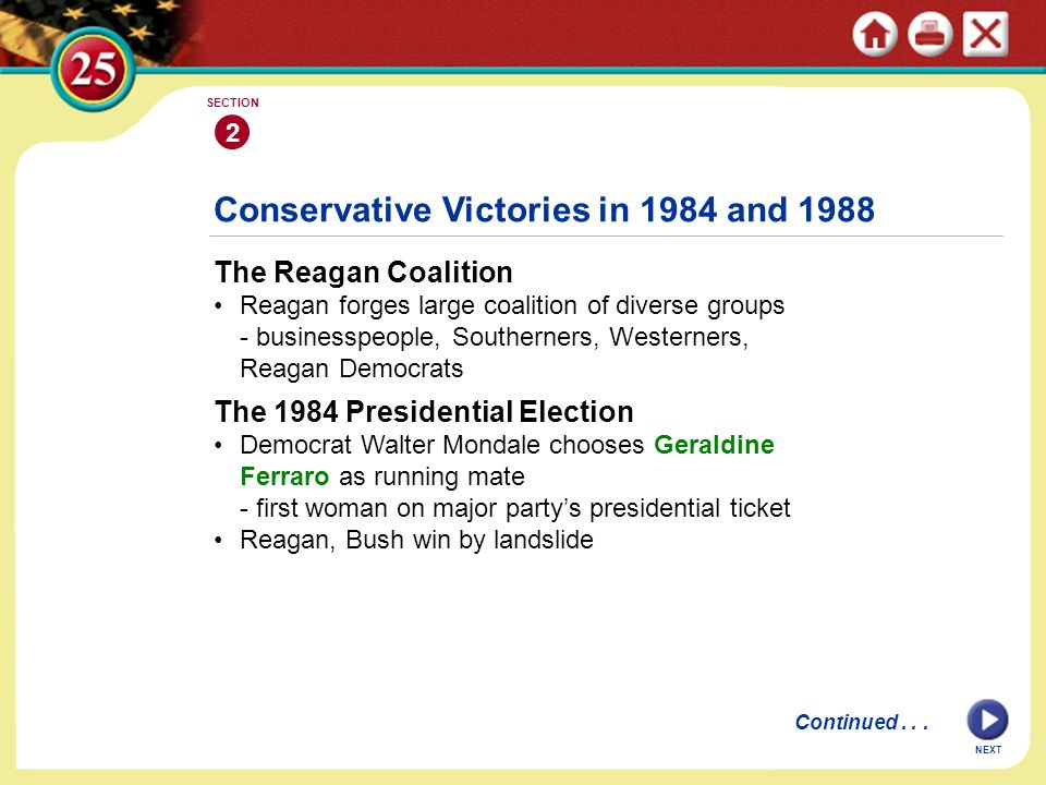 Conservative Victories in 1984 and 1988
