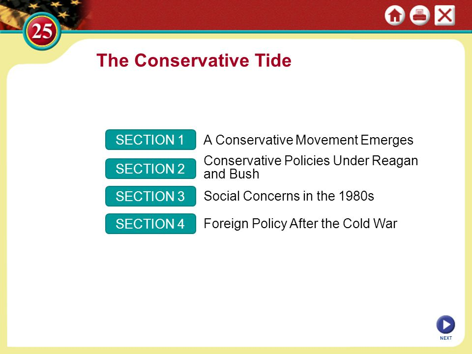 The Conservative Tide SECTION 1 A Conservative Movement Emerges