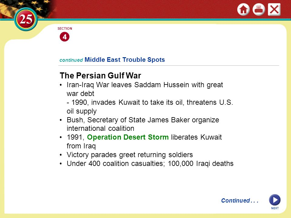 4 SECTION. continued Middle East Trouble Spots. The Persian Gulf War. Iran-Iraq War leaves Saddam Hussein with great war debt.