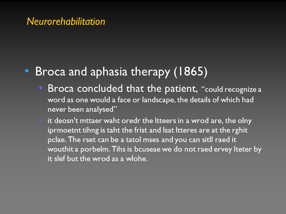 Broca and aphasia therapy (1865)