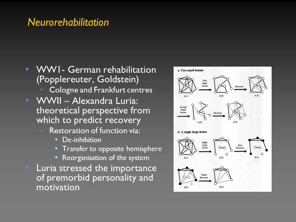Neurorehabilitation WW1- German rehabilitation (Popplereuter, Goldstein) Cologne and Frankfurt centres.