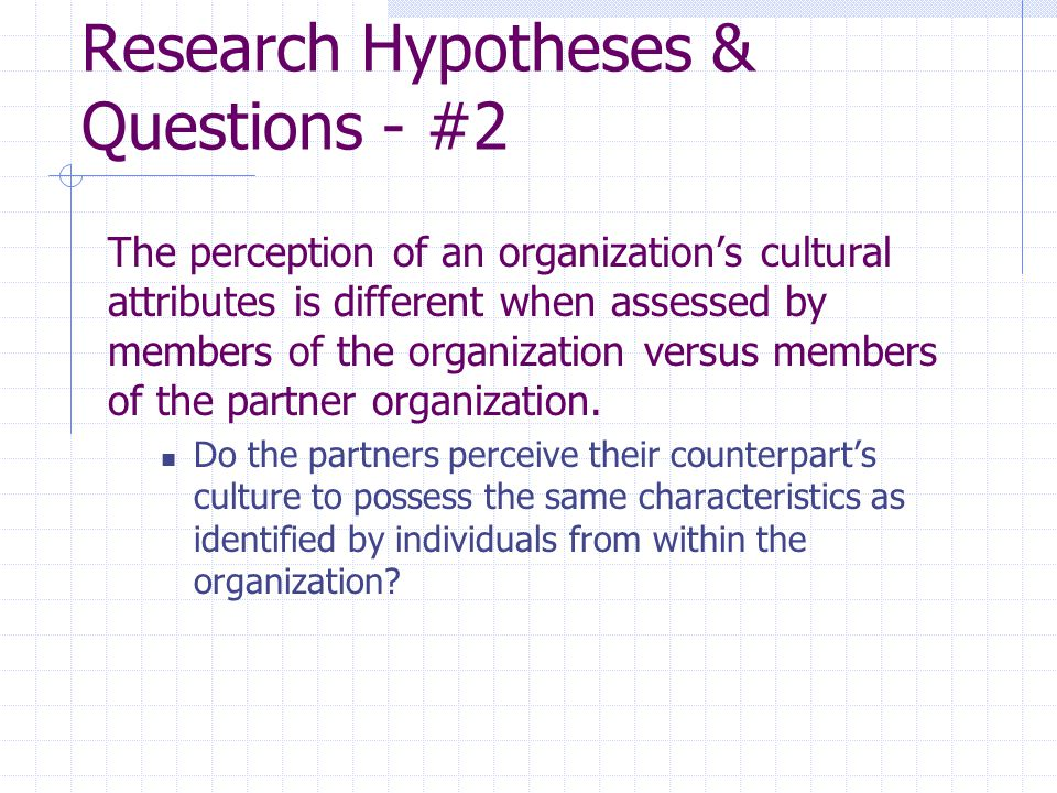 Research Hypotheses & Questions - #2