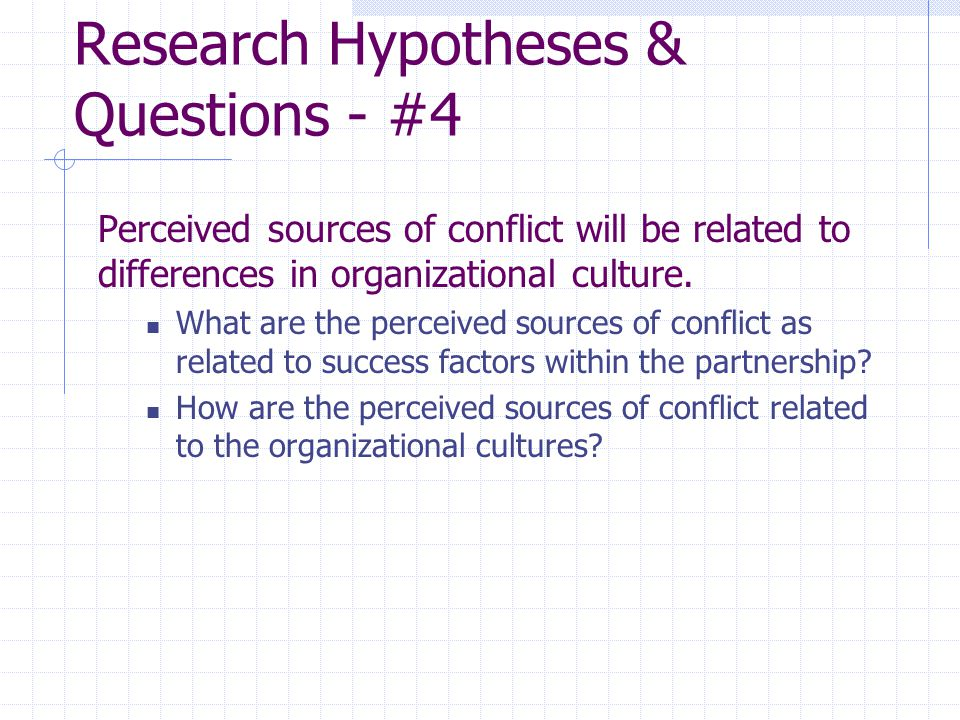 Research Hypotheses & Questions - #4