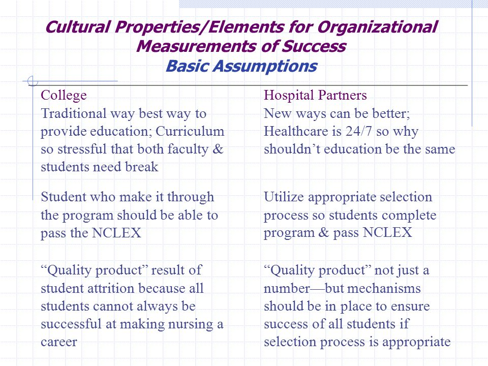 Cultural Properties/Elements for Organizational Measurements of Success Basic Assumptions