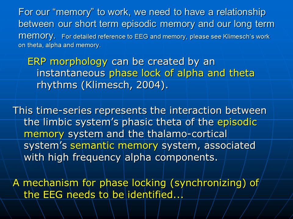 For our memory to work, we need to have a relationship between our short term episodic memory and our long term memory. For detailed reference to EEG and memory, please see Klimesch's work on theta, alpha and memory.
