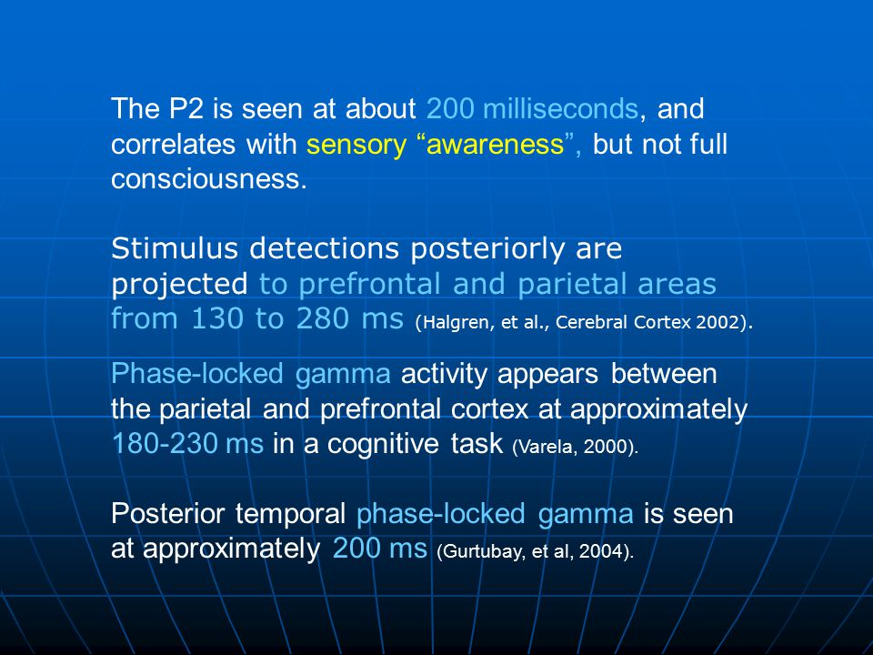The P2 is seen at about 200 milliseconds, and correlates with sensory awareness , but not full consciousness.