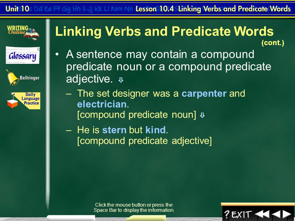 Linking Verbs and Predicate Words (cont.)