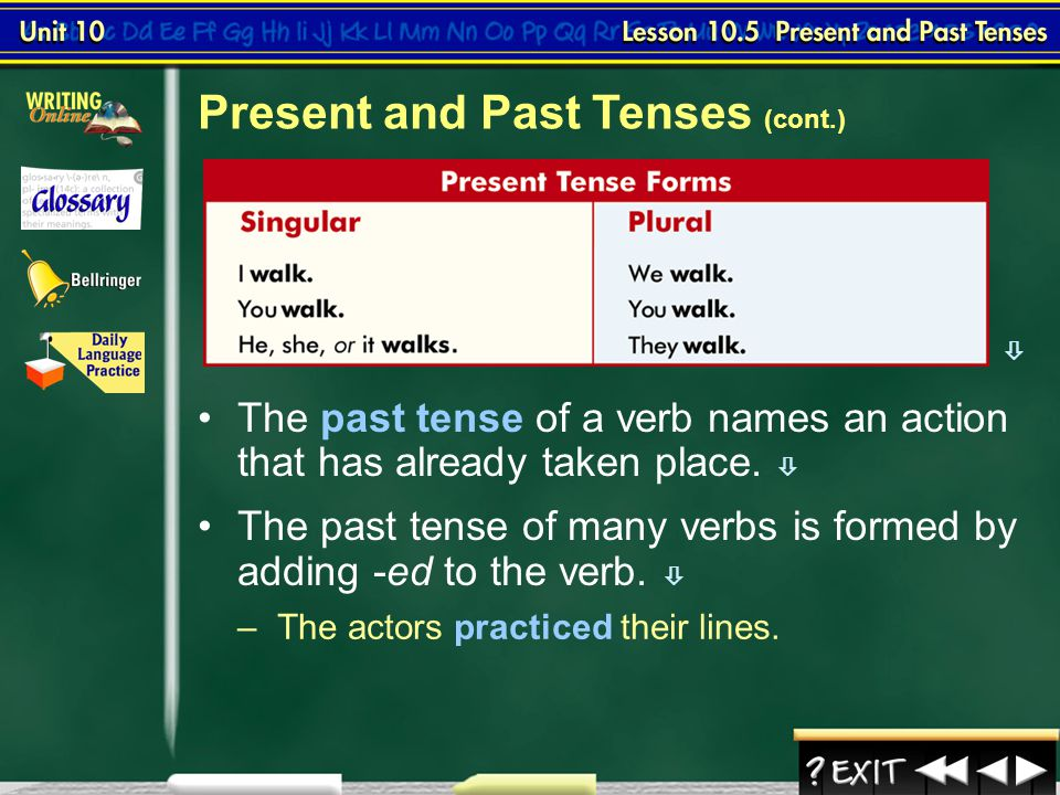 Present and Past Tenses (cont.)