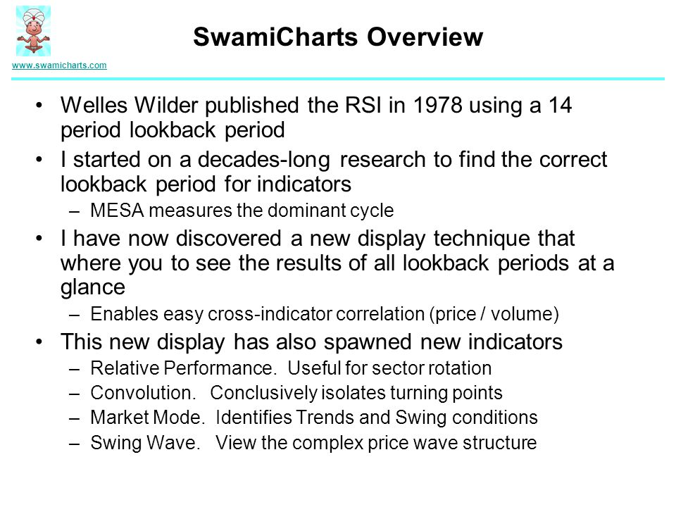 SwamiCharts Overview www.swamicharts.com. Welles Wilder published the RSI in 1978 using a 14 period lookback period.