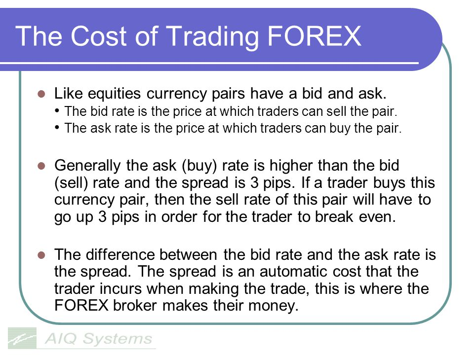 The Cost of Trading FOREX