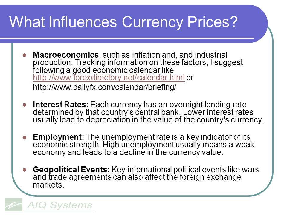 What Influences Currency Prices