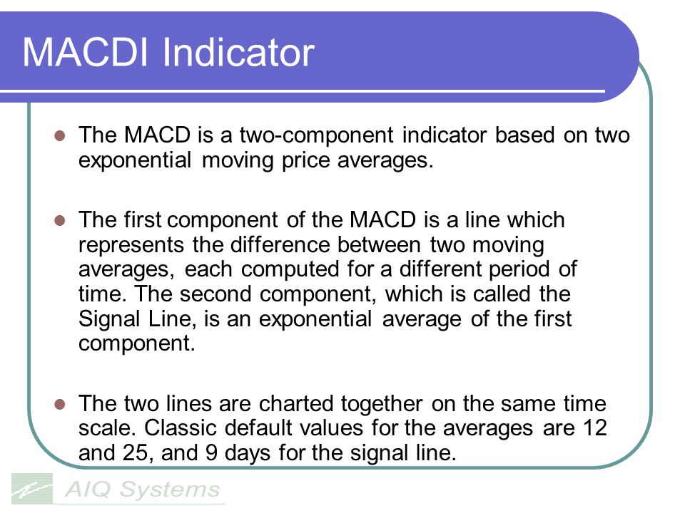 MACDI Indicator The MACD is a two-component indicator based on two exponential moving price averages.