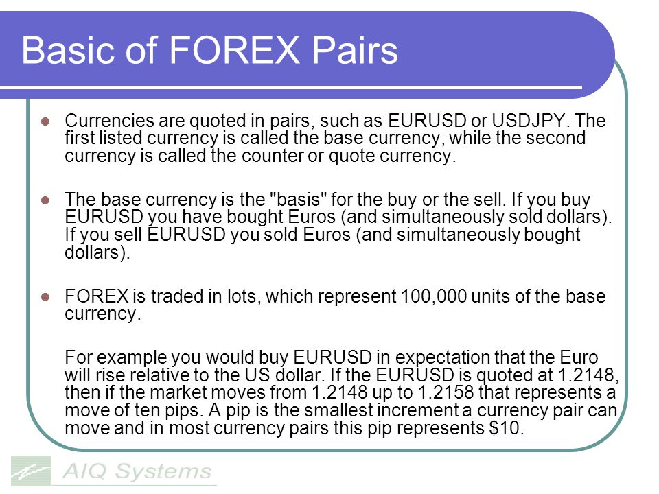 Basic of FOREX Pairs