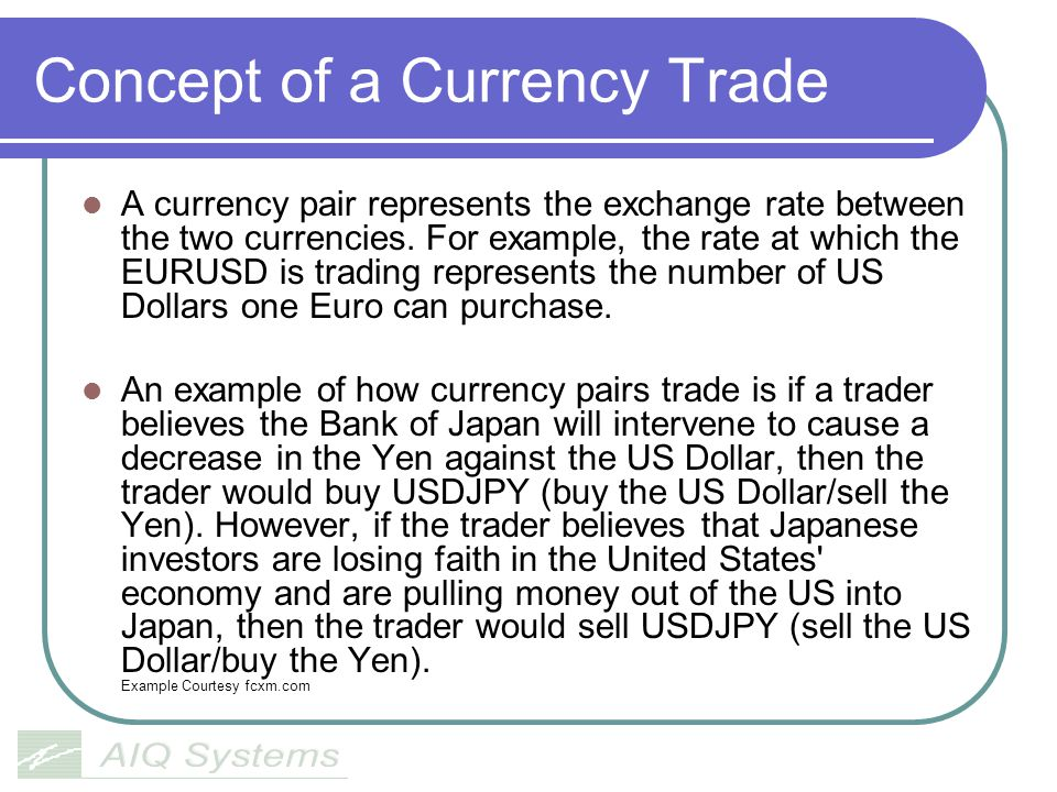 Concept of a Currency Trade