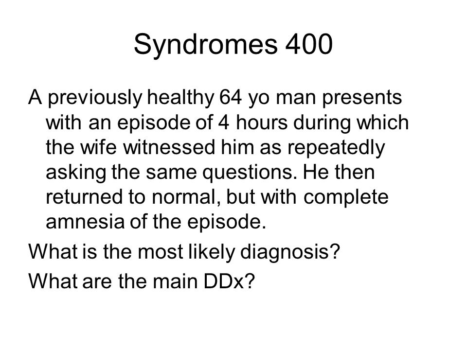 Syndromes 400