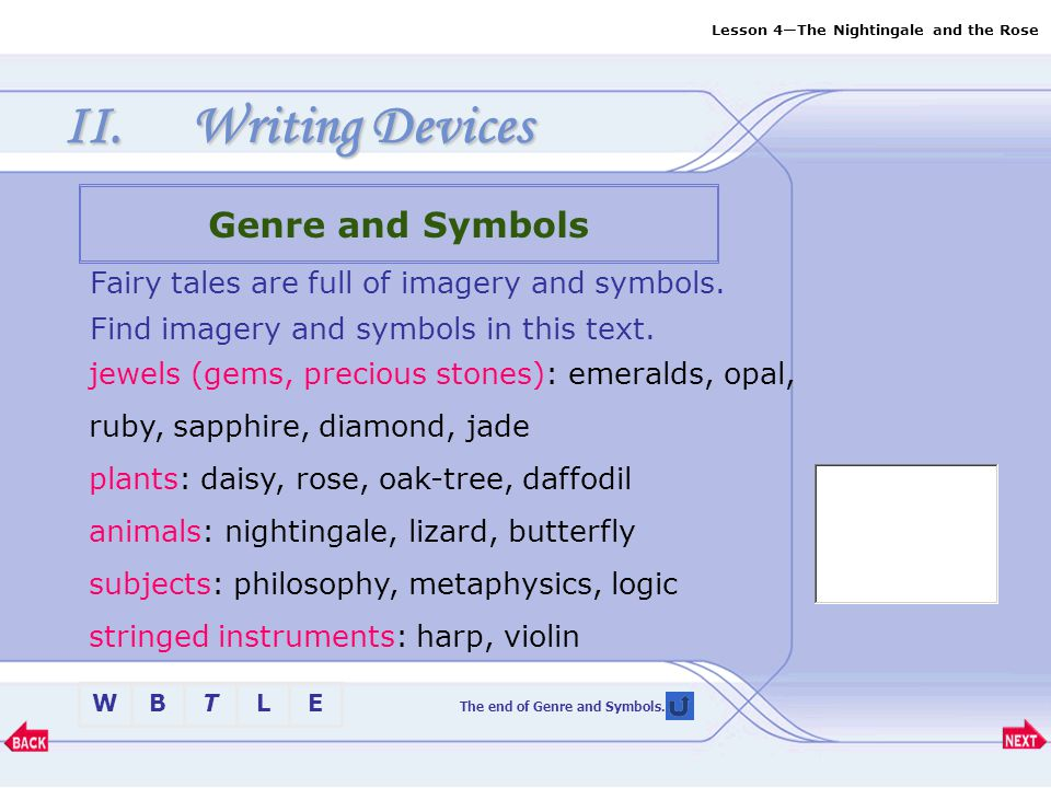The end of Genre and Symbols.