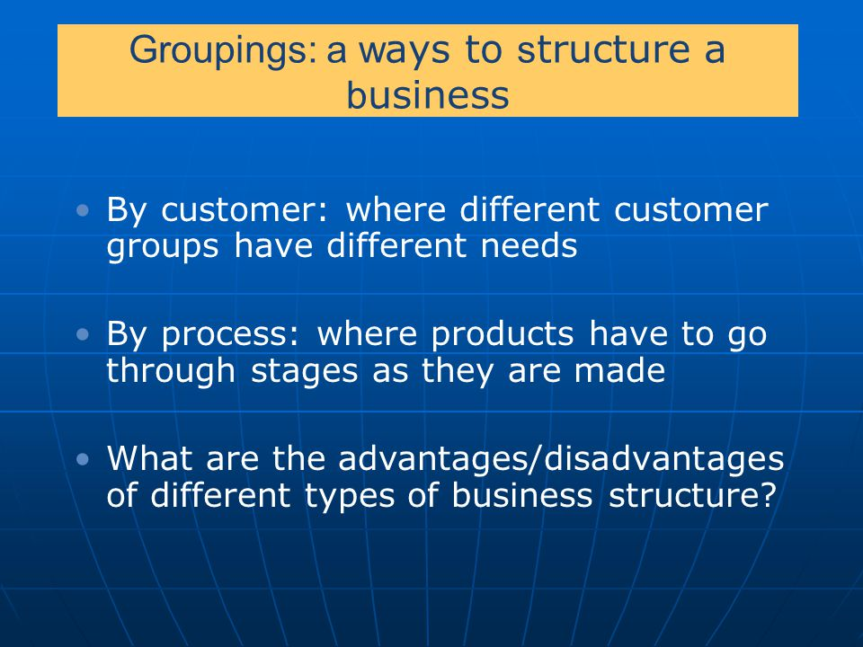 Groupings: a ways to structure a business