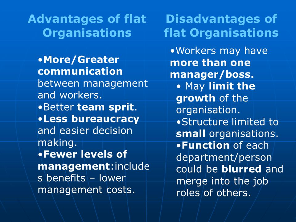 Advantages of flat Organisations Disadvantages of flat Organisations