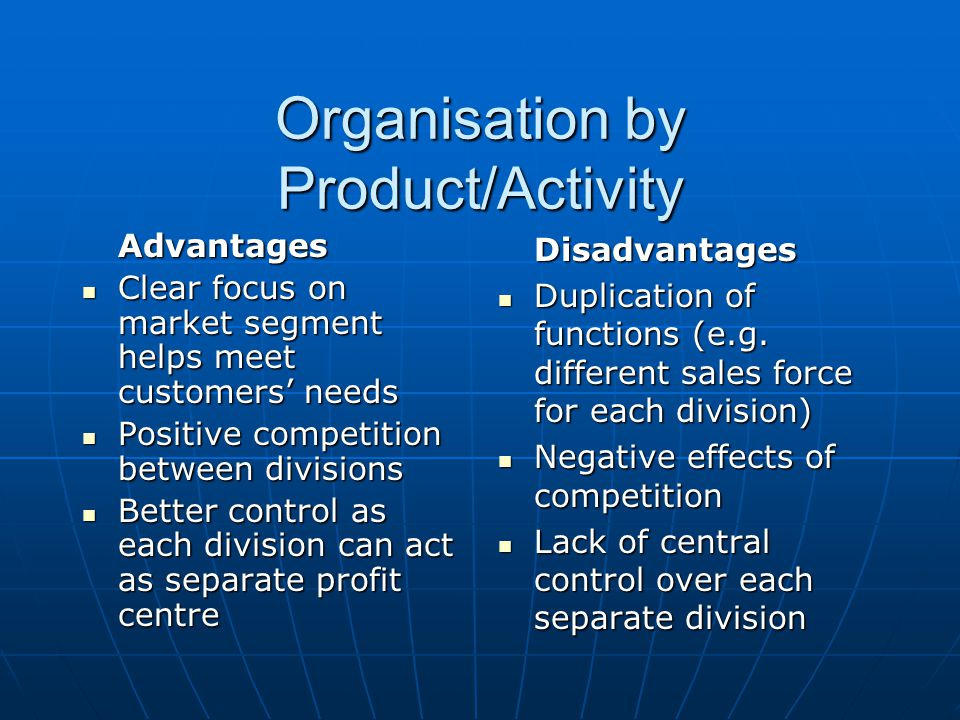 Organisation by Product/Activity