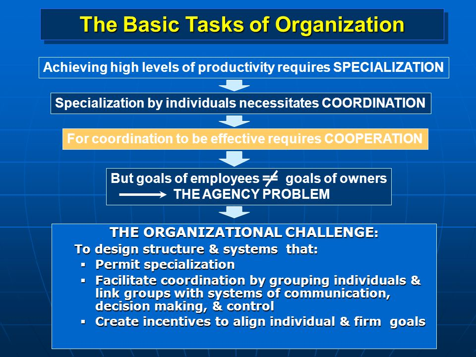 The Basic Tasks of Organization THE ORGANIZATIONAL CHALLENGE: