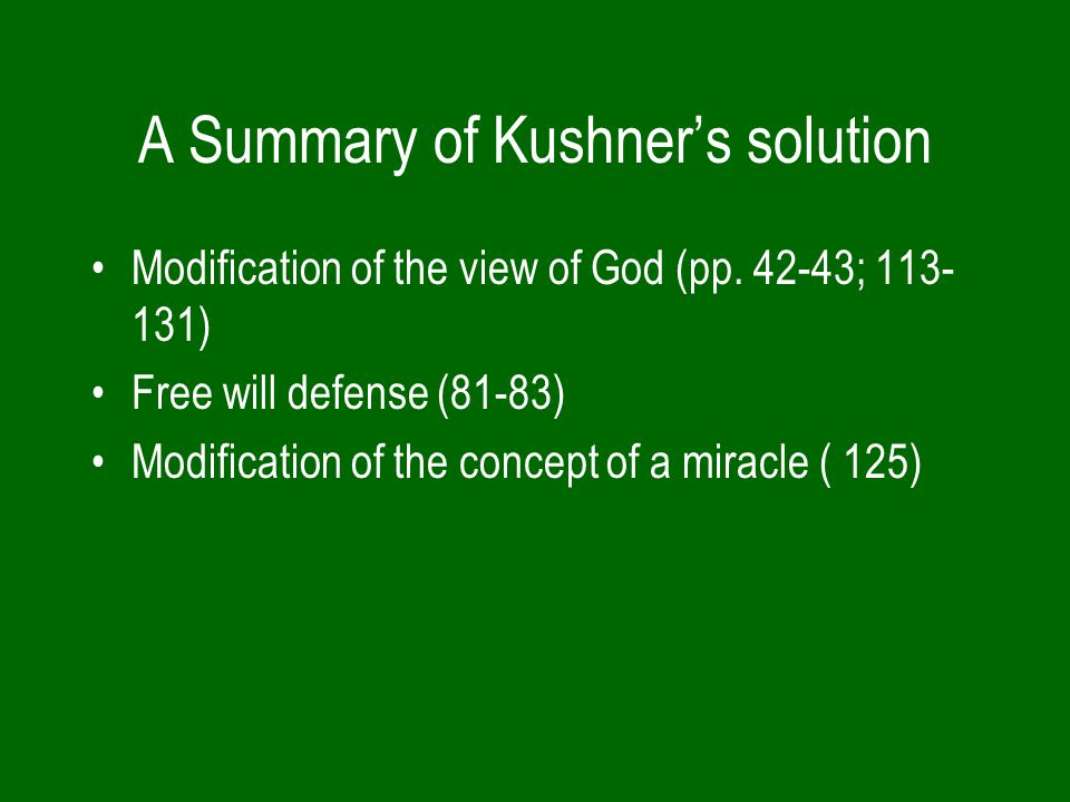 A Summary of Kushner's solution