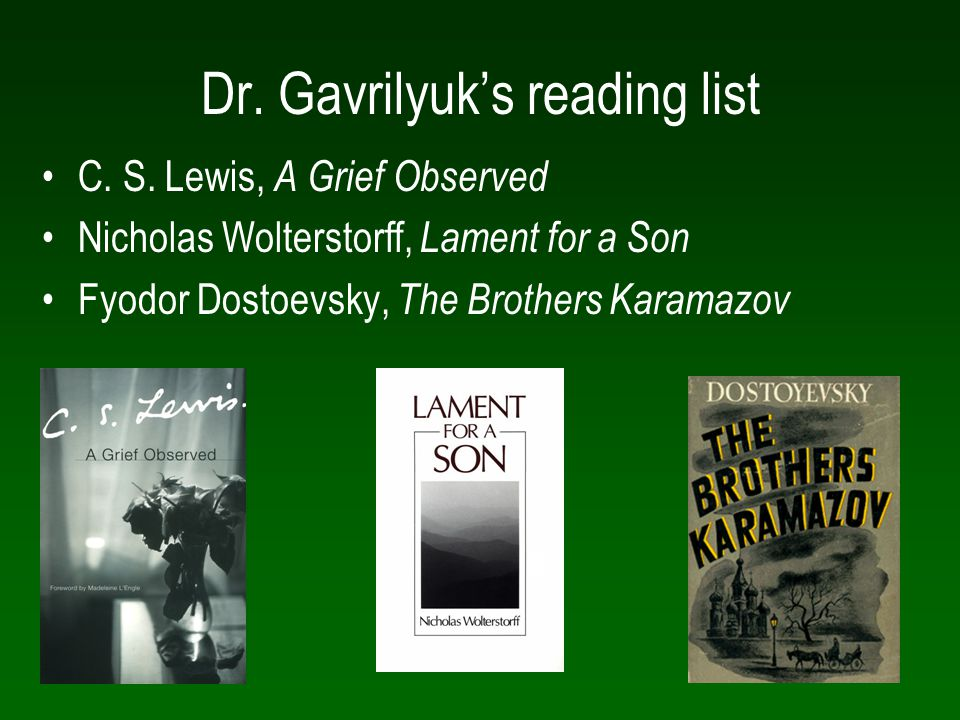 Dr. Gavrilyuk's reading list