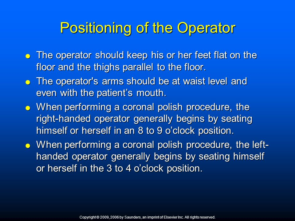 Positioning of the Operator