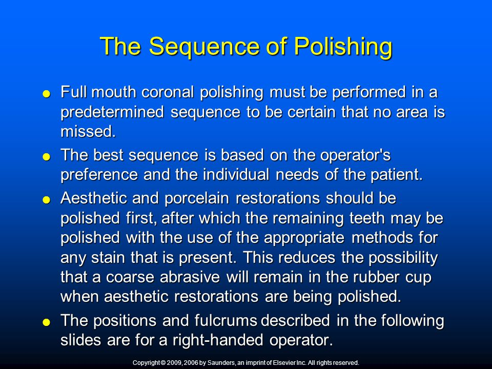 The Sequence of Polishing