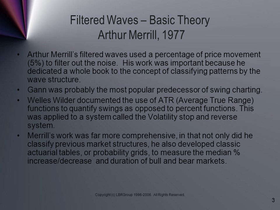 Filtered Waves – Basic Theory Arthur Merrill, 1977