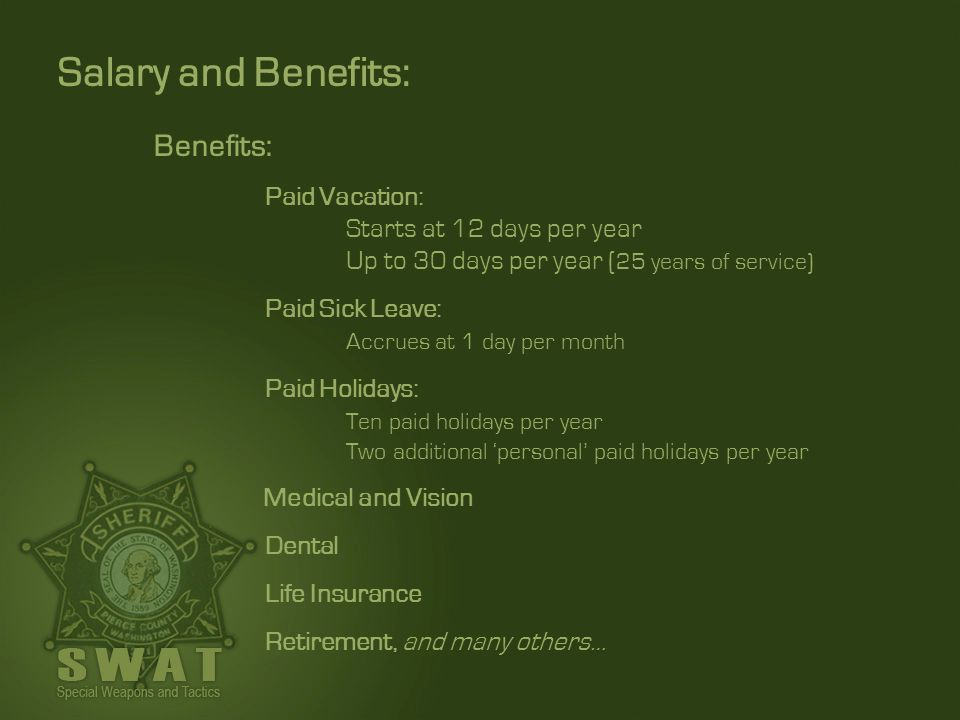 Salary and Benefits: Benefits: