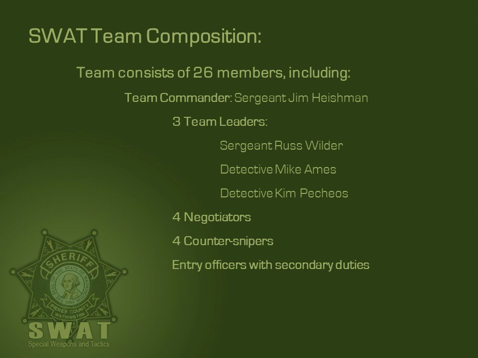 SWAT Team Composition: