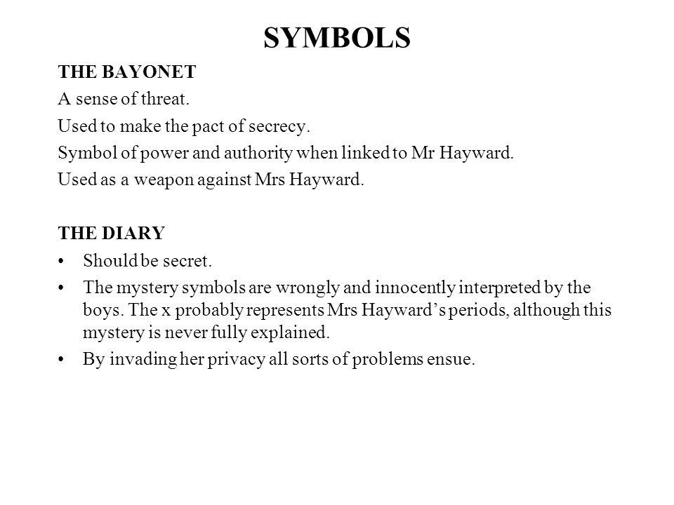 SYMBOLS THE BAYONET A sense of threat.