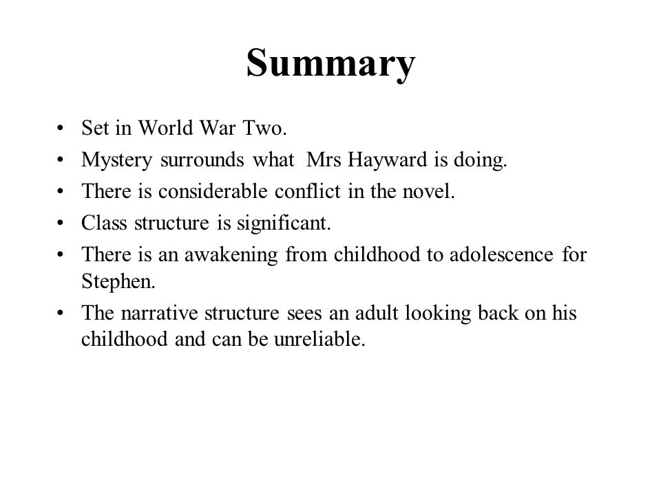 Summary Set in World War Two.