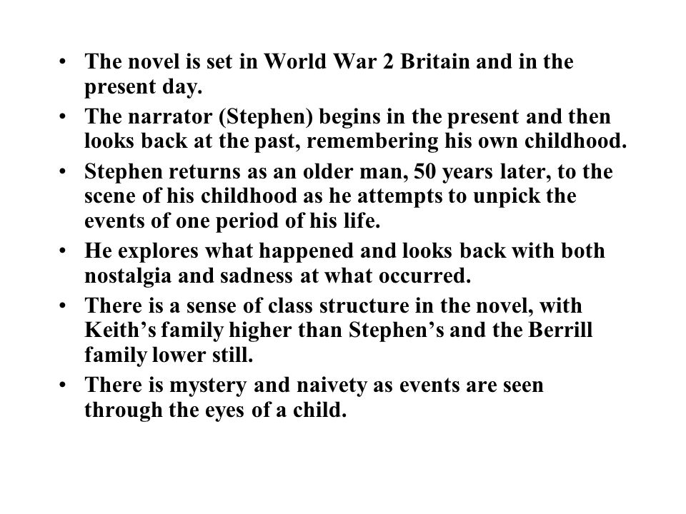 The novel is set in World War 2 Britain and in the present day.