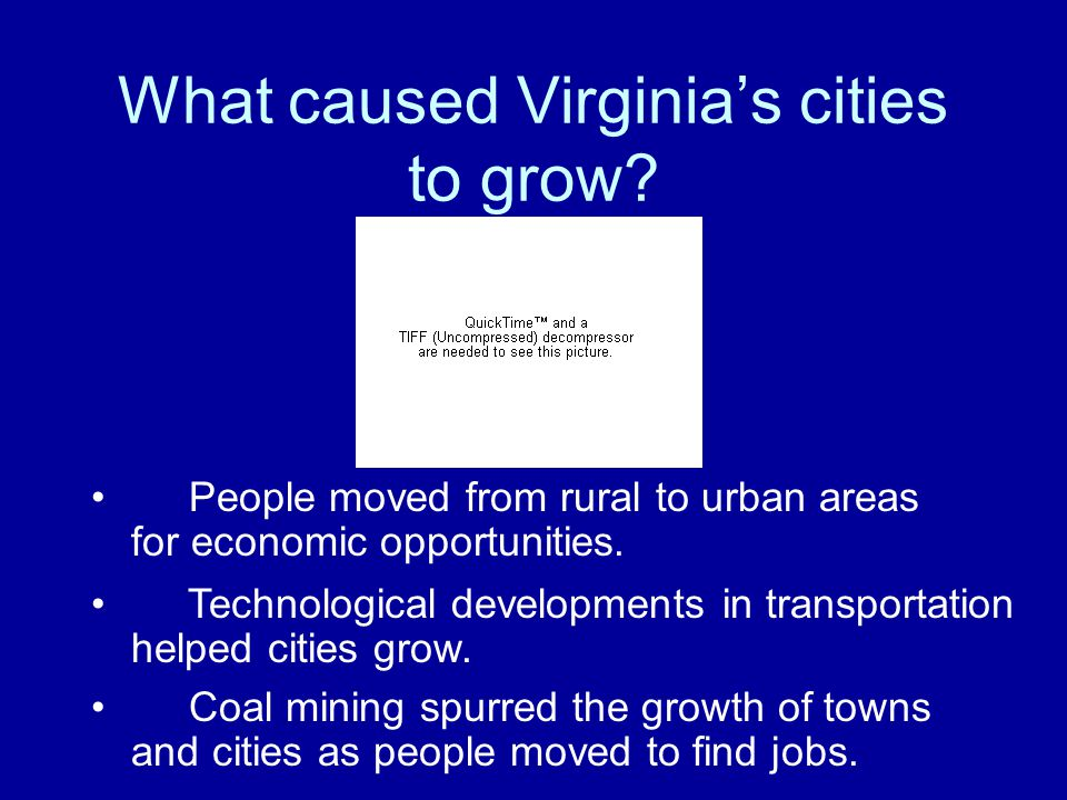 What caused Virginia's cities to grow