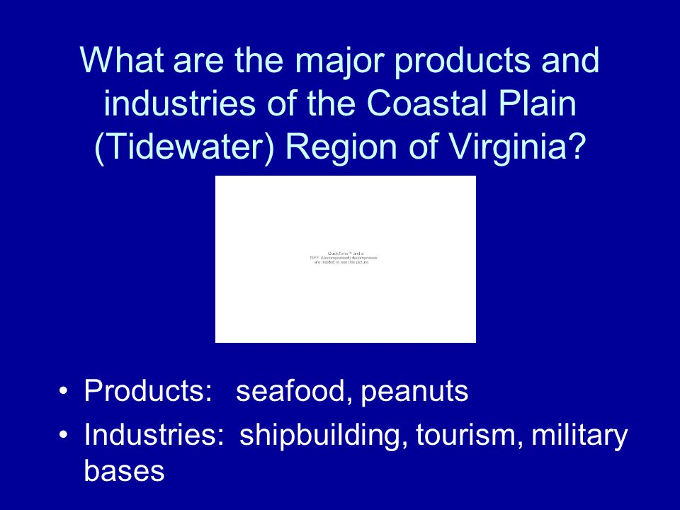 What are the major products and industries of the Coastal Plain (Tidewater) Region of Virginia
