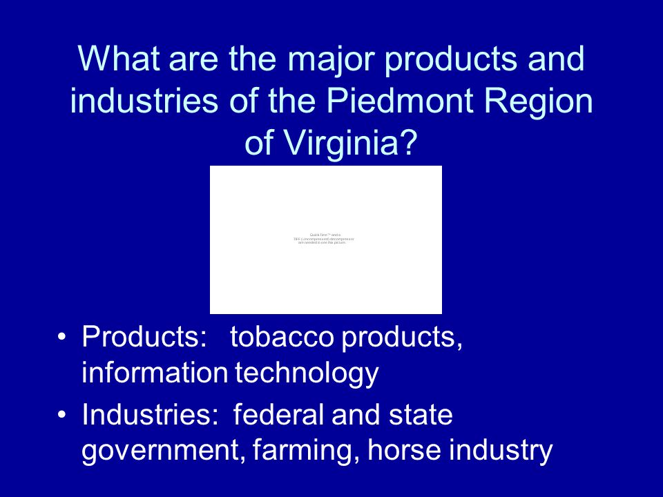 What are the major products and industries of the Piedmont Region of Virginia