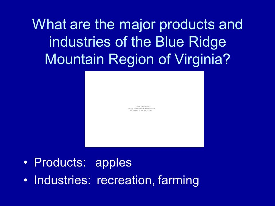 What are the major products and industries of the Blue Ridge Mountain Region of Virginia