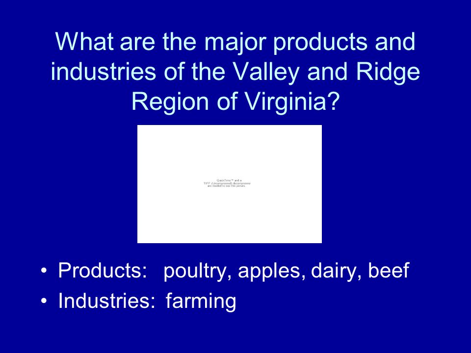 What are the major products and industries of the Valley and Ridge Region of Virginia
