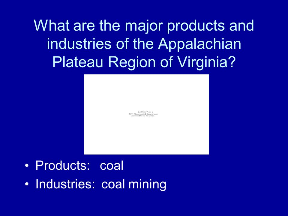 What are the major products and industries of the Appalachian Plateau Region of Virginia