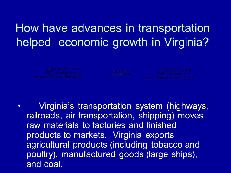 How have advances in transportation helped economic growth in Virginia