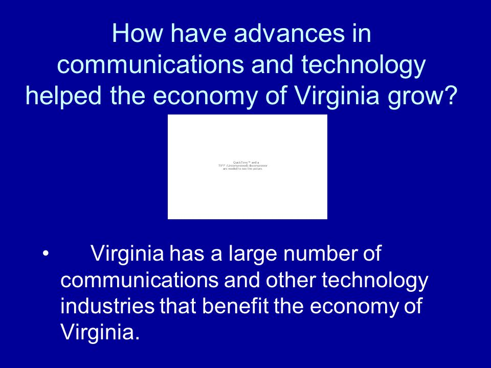 How have advances in communications and technology helped the economy of Virginia grow