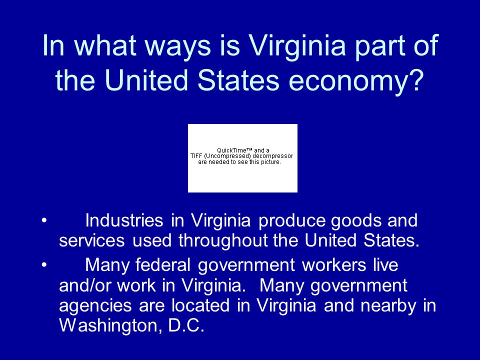 In what ways is Virginia part of the United States economy
